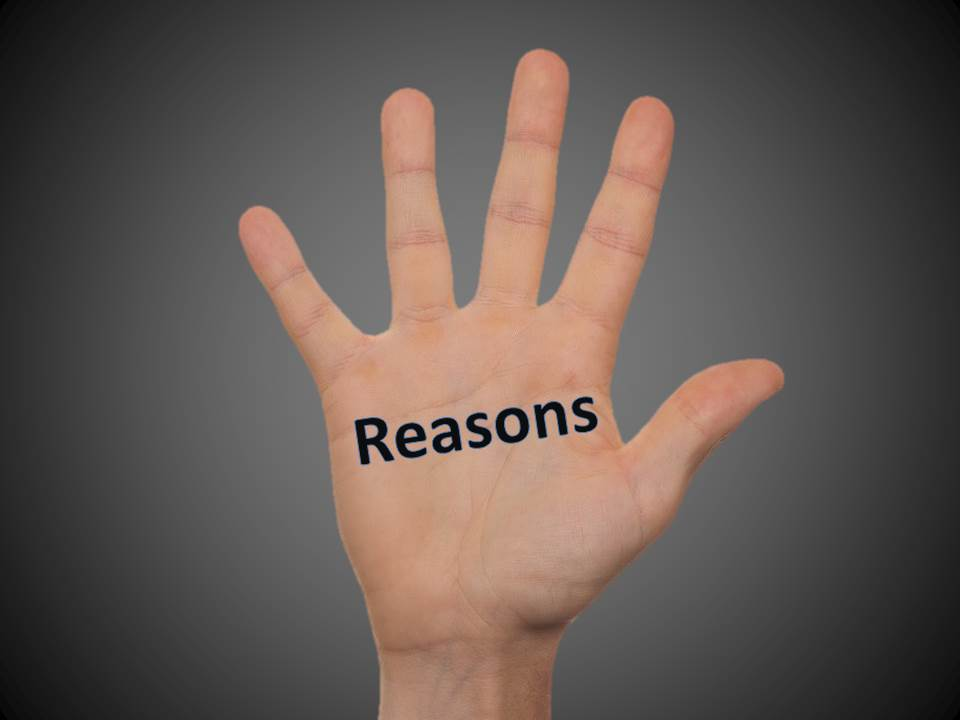 5 reasons you would want a complimentary consultation. Image of hand with the word Reasons on its palm.